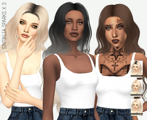 Miss Paraply: Sintiklia`s Sparks hair retextured for Sims 4