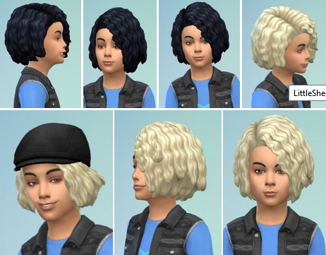 Birksches sims blog: Little Sheehan Hair retextured for Sims 4