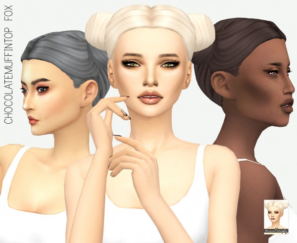 Miss Paraply: Chocolate Muffin~s Top fox hair retextured for Sims 4