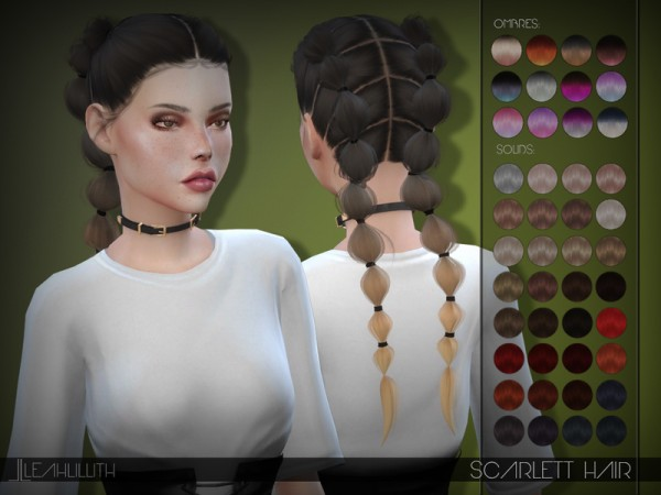 The Sims Resource: LeahLillith`s Scarlett Hair for Sims 4
