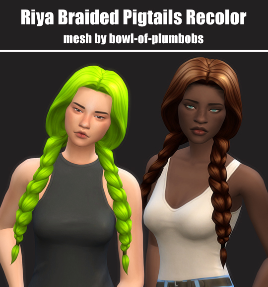 Simsworkshop: Riya Braided Pigtails Recolor by maimouth for Sims 4