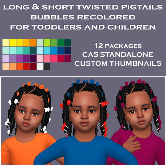 Simsworkshop: Sympxls Twisted Pigtails Bubbles Recolor for Sims 4