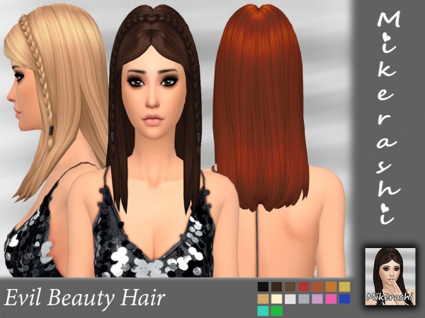 Mikerashi: Evil Beauty Hair for Sims 4