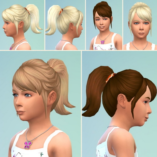 Birksches sims blog: Little Meriana Ponytail hair for Sims 4