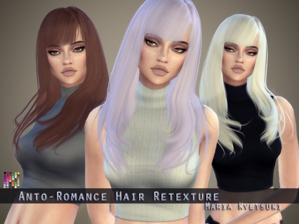 The Sims Resource: Anto`s Romance hair retextured by MariaKyetsuki for Sims 4