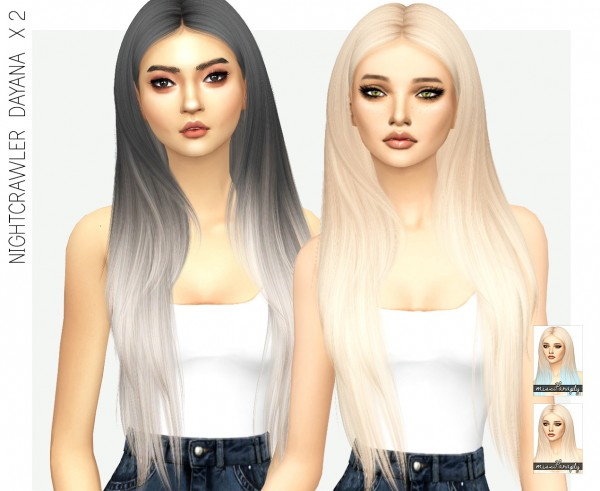 Miss Paraply: Nightcrawlers Dayana hair retextured for Sims 4