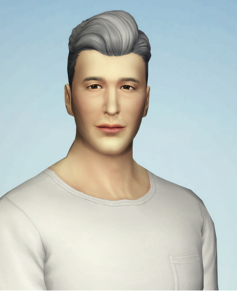 Rusty Nail: Slick edit grey hair retextured for Sims 4