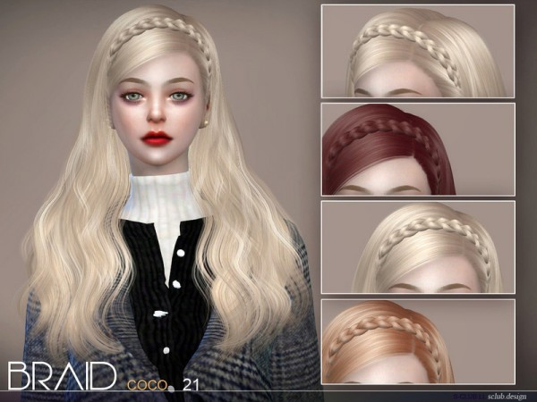 The Sims Resource: Hair coco braid by S club for Sims 4