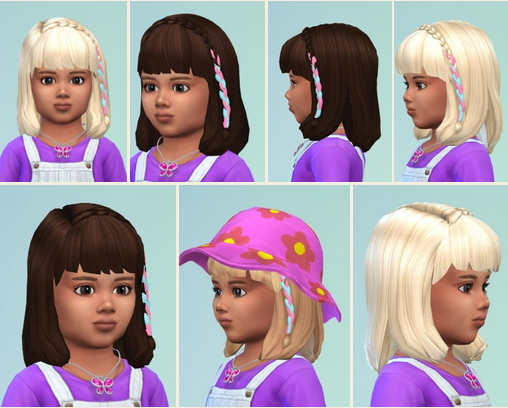 Birksches sims blog: Toddler's Pink Braid Hair for Sims 4