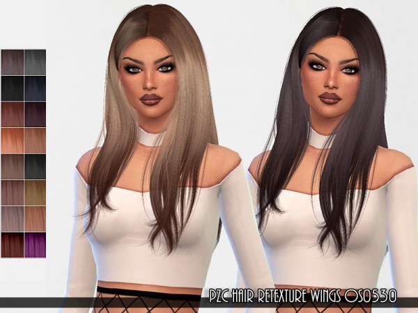 The Sims Resource: WINGS OS0530 hair retextured by Pinkzombiecupcakes for Sims 4