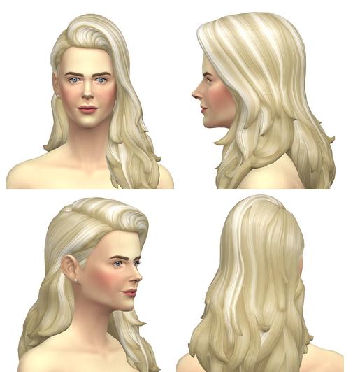 Birksches sims blog: Long flipped hair retextured for Sims 4