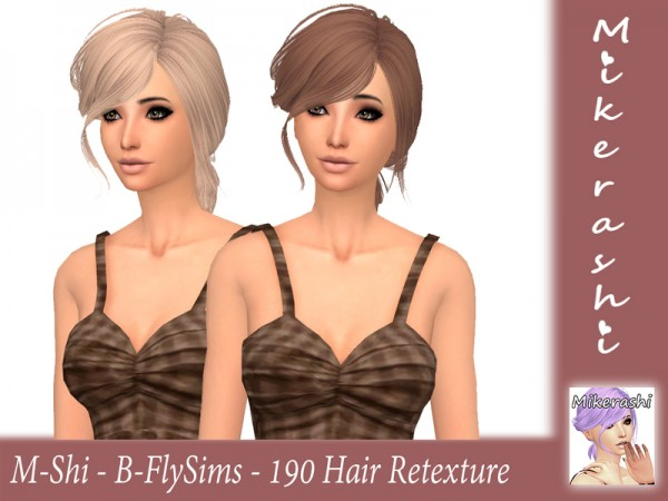 The Sims Resource: B Fly`s 190 Hair Retextured by mikerashi for Sims 4