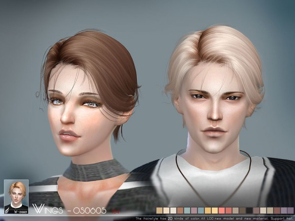 The Sims Resource: WINGS OS0605 hair for Sims 4