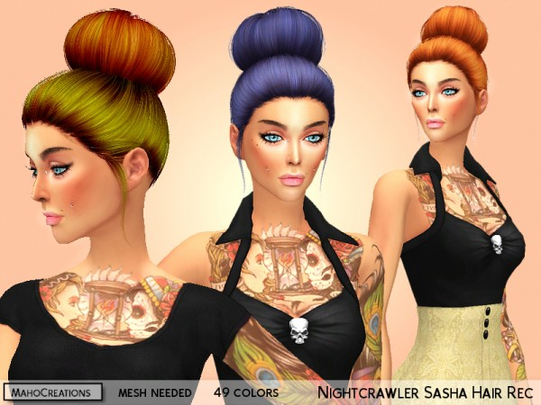The Sims Resource: Nightcrawler`s Sasha Hair Recolored by MahoCreations for Sims 4