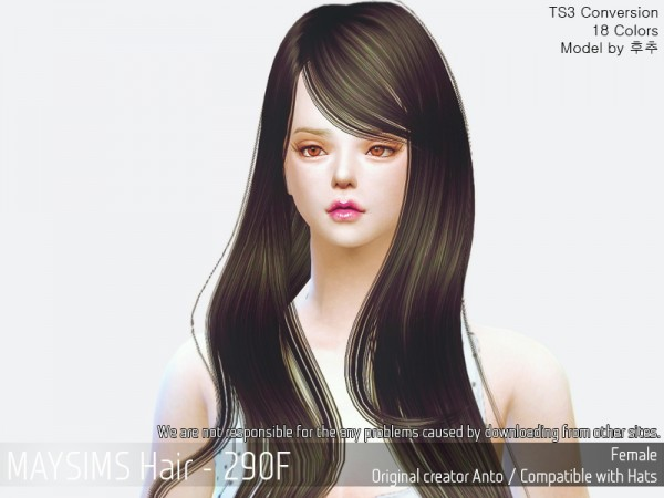 MAY Sims: MAY 290 hair retextured for Sims 4