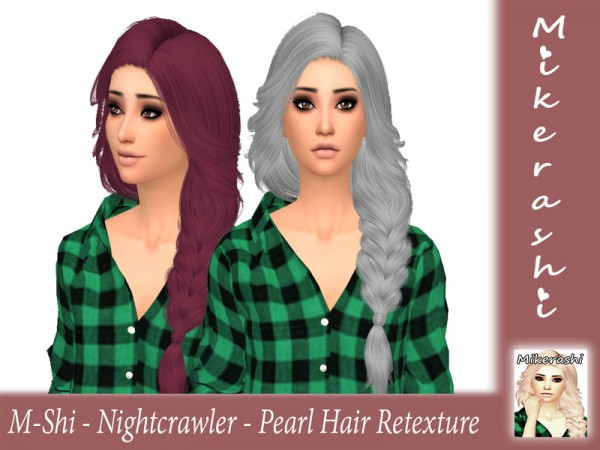The Sims Resource: Nightcrawler`s Pearl hair retextured by mikerashi for Sims 4
