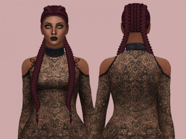 The Sims Resource: Tsminh`s Maya hair retextured by Rebellesims for Sims 4