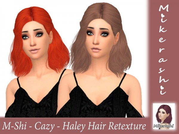 The Sims Resource: Cazy`s  Haley Hair Retextured by mikerashi for Sims 4