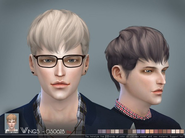 The Sims Resource: WINGS OS0628 hair for Sims 4