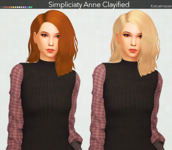 Kot Cat: Simpliciaty Anne Hair Clayified for Sims 4