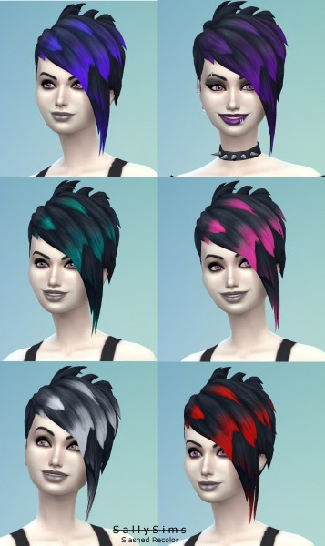 Mod The Sims: Slashed Vampire Hair Recolored by SallySims for Sims 4
