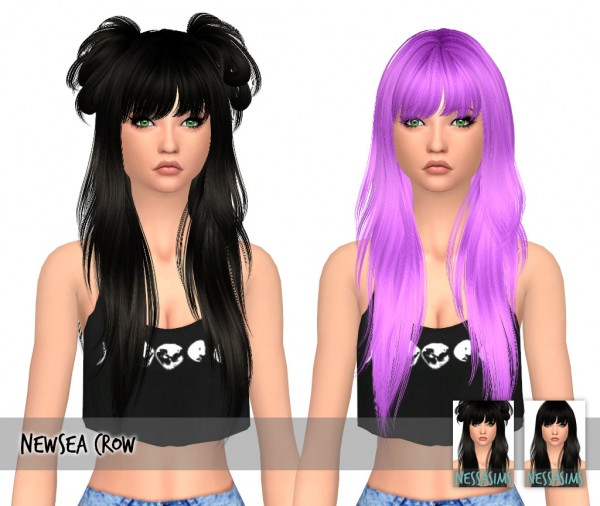 Nessa sims: Newsea`s crow hair retextured for Sims 4