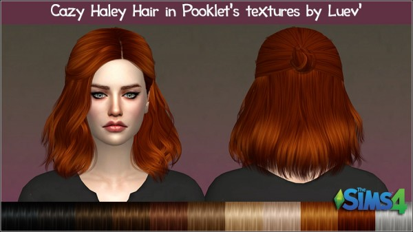 Mertiuza: Cazy`s hHaley hair retextured for Sims 4