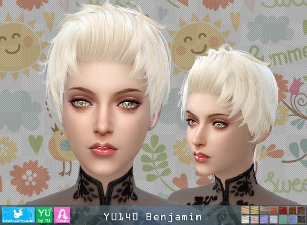 NewSea: YU140 Benjamin hair for her for Sims 4