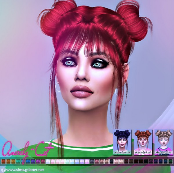 Anarchy Cat: LeahLillith`s Nyane Hair 001 Naturals for Sims 4