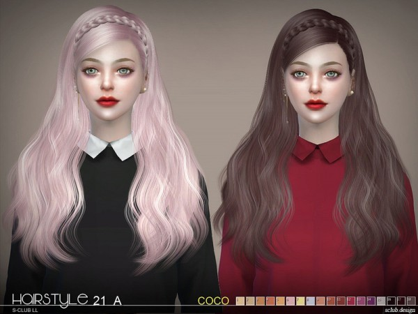 The Sims Resource: Hair CoCo n21A by S Club for Sims 4