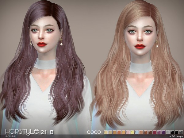 The Sims Resource: Hair CoCo n21B by S Club for Sims 4