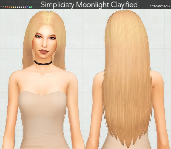 Kot Cat: Simpliciaty`s Moonlight Hair Clayified for Sims 4