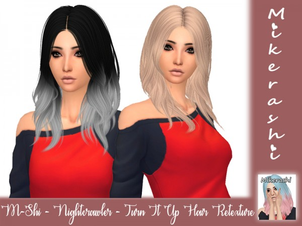 The Sims Resource: Nightcrawler`s Turn It Up Hair Retextured by mikerashi for Sims 4
