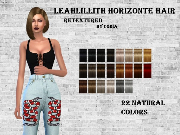 The Sims Resource: Leahlillith`s Horizonte hair retextured by Codia for Sims 4