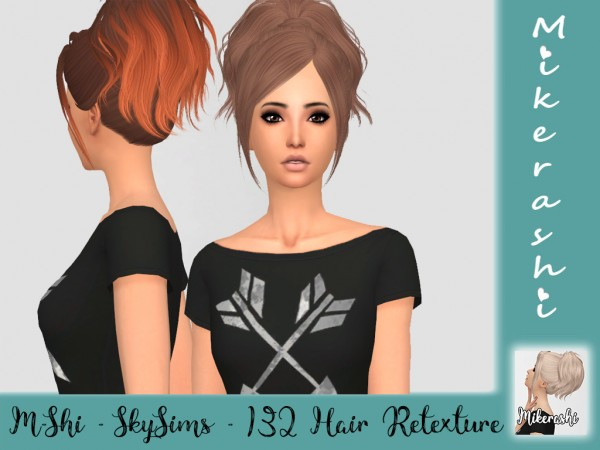 Mikerashi: Skysims 132 hair retextured for Sims 4