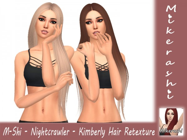 The Sims Resource: Nightcrawler`s Kimberly Hair Retextured by mikerashi for Sims 4