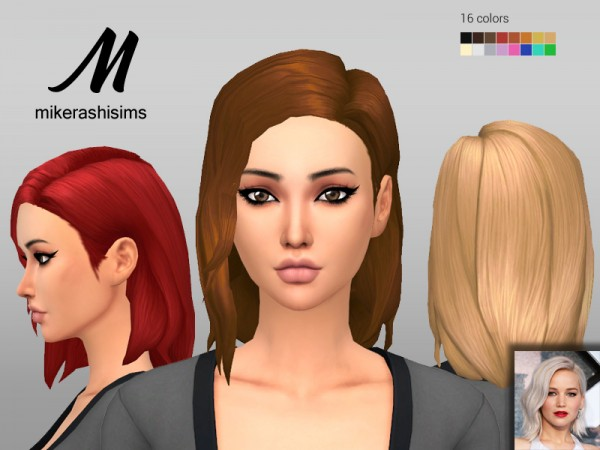 Mikerashi: Jennifer Hair for Sims 4