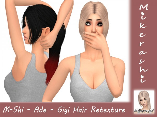 The Sims Resource: Ade`s Gigi Hair Retextured by mikerashi for Sims 4