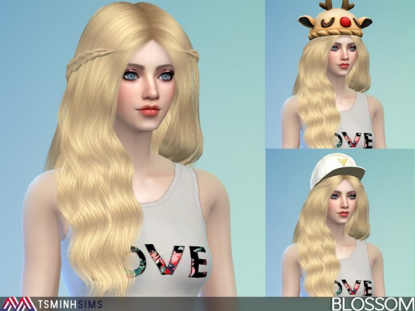 The Sims Resource: Blossom Hair 37 Set  by Tsminhsims for Sims 4