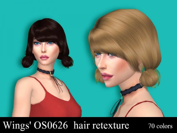 The Sims Resource: Wings OS062 hair retextured by Sharareh for Sims 4