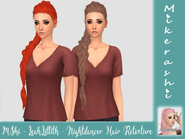 The Sims Resource: LeahLillith`s Nightdancer Hair Retextured by mikerashi for Sims 4