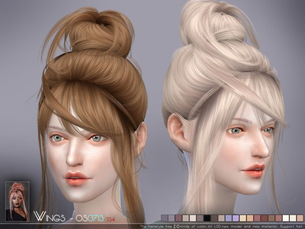 The Sims Resource: WINGS OS0713 hair for Sims 4