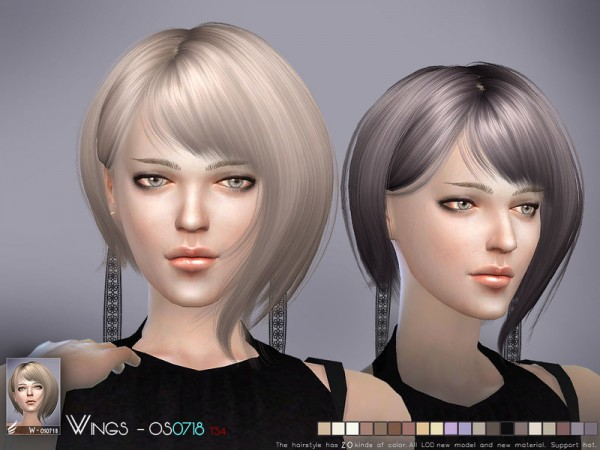 The Sims Resource: OS0718 hair by Wings for Sims 4