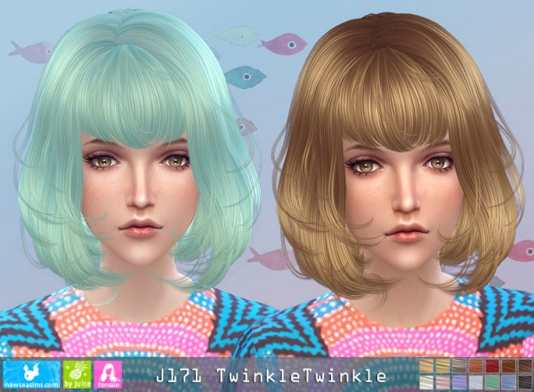 NewSea: J171 Twinkle Twinkle hair for Sims 4