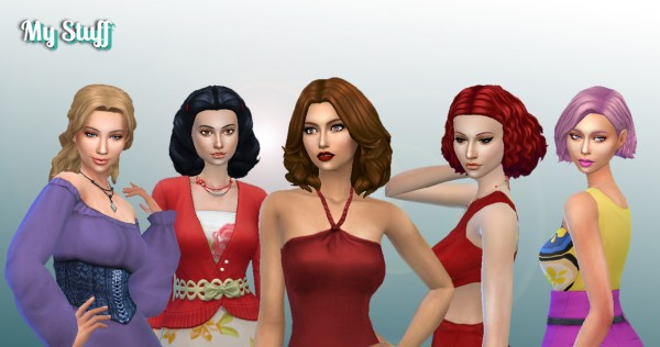 Mystufforigin: Medium Hair Pack 6 for Sims 4