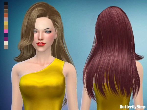 Butterflysims: Hair 171 No hat for Sims 4