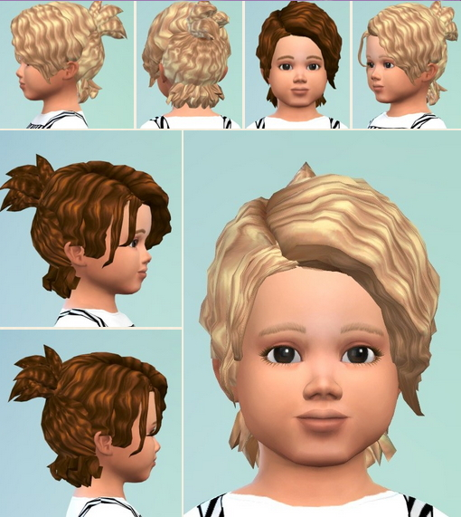 Birksches sims blog: Messie Curl Ponytail Toddler for Sims 4