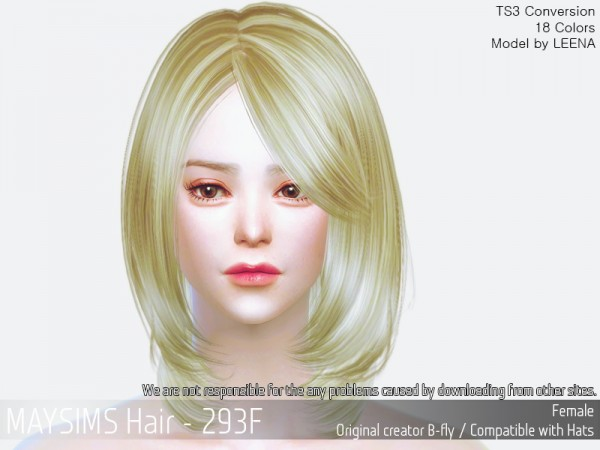 MAY Sims: MAY 293F hair retextured for Sims 4