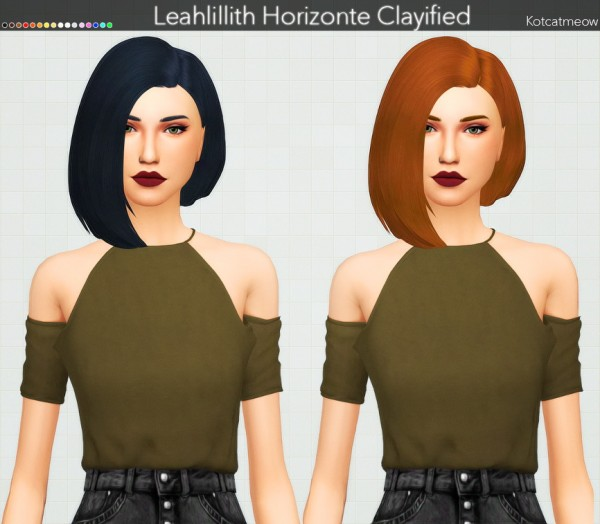 Kot Cat: Leahlillith`s Horizonte Hair Clayified for Sims 4