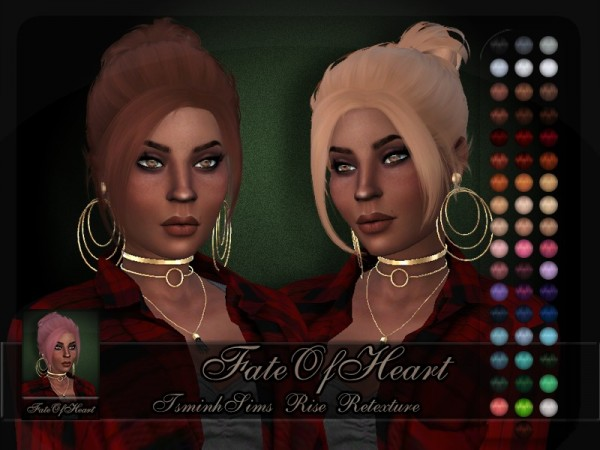 The Sims Resource: Tsminh`s Rise hair retextured byFateOfHeart for Sims 4